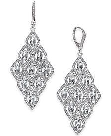 I.N.C. Silver-Tone Crystal Kite Chandelier Earrings, Created for Macy's