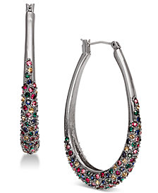 "I.N.C. Large Hematite-Tone Multicolor Pavé Oval Hoop Earrings 1.8"", Created for Macy's"