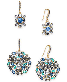 I.N.C. Day & Night Gold-Tone 2-Pc. Set Crystal & Stone Drop Earrings, Created for Macy's