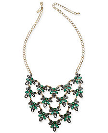 "I.N.C. Gold-Tone Crystal Cluster Statement Necklace, 18"" + 3"" extender, Created for Macy's"