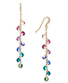 I.N.C. Gold-Tone Multi-Crystal Linear Drop Earrings, Created for Macy's