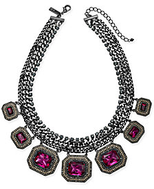 "I.N.C. Hematite-Tone Multi-Crystal Statement Necklace, 18"" + 3"" extender, Created for Macy's"