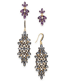 I.N.C. Day & Night Gold-Tone 2-Pc. Set Coordinated Multi-Stone Cluster Drop Earrings, Created for Macy's