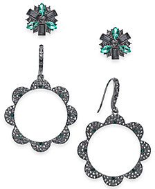 I.N.C. Day & Night Hematite-Tone 2-Pc. Box Set Coordinated Crystal Cluster Stud Earrings and Scalloped Edge Drop Earrings, Created for Macy's