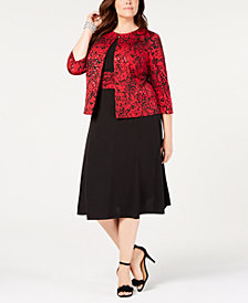 Jessica Howard Plus Size Printed Jacket & Midi Dress
