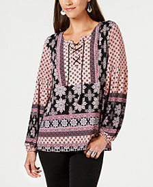 Style & Co Printed Lace-Up Peasant Top, Created for Macy's