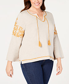 Style & Co Plus Size Embroidered Peasant Sweater, Created for Macy's