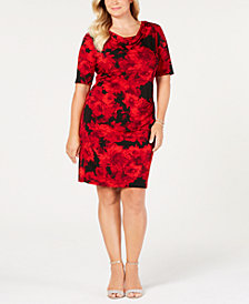 Connected Plus Size Cowl-Neck Floral Dress