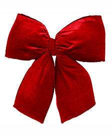 "Vickerman 16"" Red Velvet Structured Christmas Indoor Bow"
