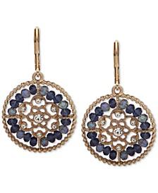 Gold-Tone Crystal & Bead Openwork Drop Earrings
