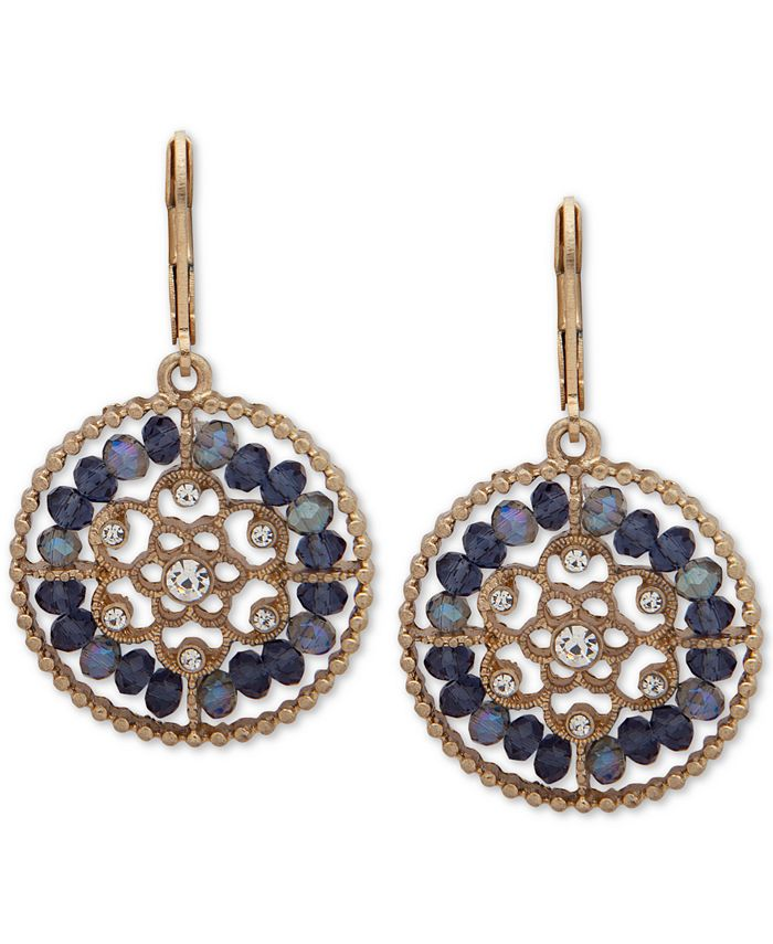 lonna & lilly - Gold-Tone Crystal & Bead Openwork Drop Earrings