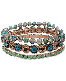 lonna & lilly Gold-Tone 3-Pc. Set Crystal & Bead Stretch Bracelets
