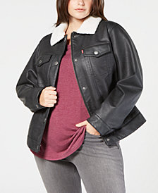Levi's® Plus Size Faux-Leather Fleece-Trimmed Trucker Jacket