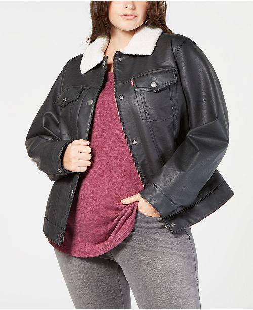 55b5536d34f48 ... Levi s Plus Size Faux-Leather Fleece-Trimmed Trucker Jacket ...