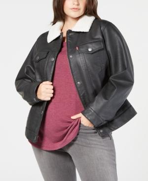 Levi's Plus Size Faux-Leather Fleece-Trimmed Trucker Jacket