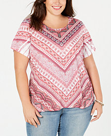 Style & Co Plus Size Mixed-Print Top, Created for Macy's