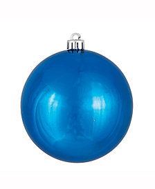 "6"" Blue Shiny Ball Christmas Ornament, 4 per Box"