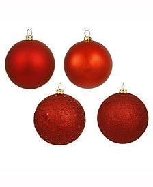 "8"" Red 4-Finish Ball Christmas Ornament, 4 per Bag"