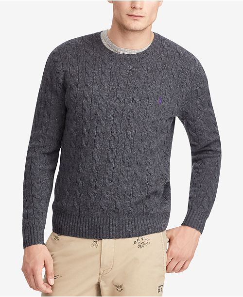detailed pictures stable quality top design Men's Cashmere Wool Blend Cable-Knit Sweater