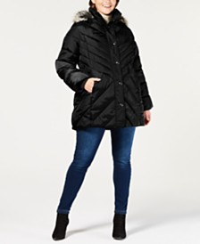 London Fog Plus Size Faux-Fur-Trim Hooded Quilted Coat