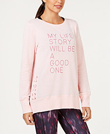 Ideology Graphic Long-Sleeve Crisscross-Sides T-Shirt, Created for Macy's
