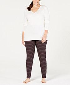 Cuddl Duds Plus Size Softwear V-Neck Top & Leggings
