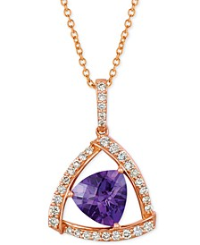 "Amethyst (1-5/8 ct. t.w.) & Diamond (1/3 ct. t.w.) 18"" Pendant Necklace in 14k Rose Gold"