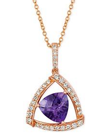 "Le Vian® Amethyst (1-5/8 ct. t.w.) & Diamond (1/3 ct. t.w.) 18"" Pendant Necklace in 14k Rose Gold"