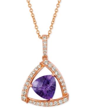 "Le Vian Amethyst (1-5/8 ct. t.w.) & Diamond (1/3 ct. t.w.) 18"" Pendant Necklace in 14k Rose Gold"