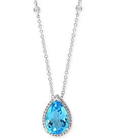 "EFFY® Blue Topaz (5-3/4 ct. t.w.) & Diamond (1/4 ct. t.w.) 18"" Pendant Necklace in 14k White Gold"