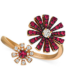 Le Vian® Certified Ruby (1/2 ct. t.w.) & Diamond (1/5 ct. t.w.) Flower Statement Ring in 14k Rose Gold