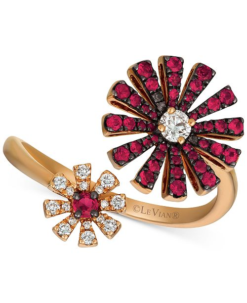 Le Vian Certified Ruby (1/2 ct. t.w.) & Diamond (1/5 ct. t.w.) Flower Statement Ring in 14k Rose Gold