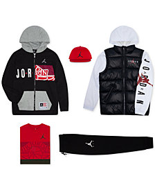 Jordan Big Boys Mesh Cap, Puffer Jacket, Zip-Up Hoodie, T-Shirt & Jogger Pants