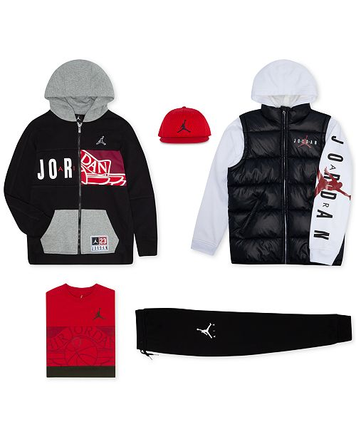 0fb942a3f Jordan Big Boys Mesh Cap, Puffer Jacket, Zip-Up Hoodie, T-Shirt ...