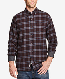 Weatherproof Vintage Men's Plaid Brushed Flannel Shirt with Contrast Cuffs