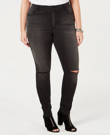 I.N.C. Plus Size Distressed Skinny Jeans, Created for Macy's