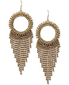 Deepa Gold-Tone Crystal Circle & Fringe Drop Earrings
