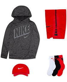 Nike Little Boys Swoosh Cap, Logo-Print Hoodie, Stripe Shorts & Crew Socks