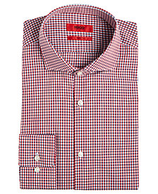 HUGO Men's Slim-Fit Red Mini Gingham Dress Shirt