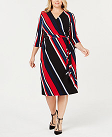 I.N.C. Plus Size Striped Faux-Wrap Dress, Created for Macy's