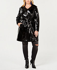 I.N.C. Plus Size Patent Trench Coat, Created for Macy's