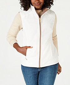 Karen Scott Petite Reversible Zip Vest, Created for Macy's