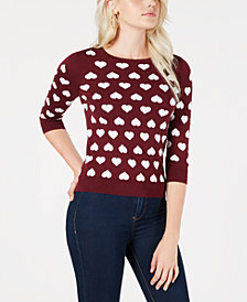 Maison Jules Heart Sweater, Created for Macy's
