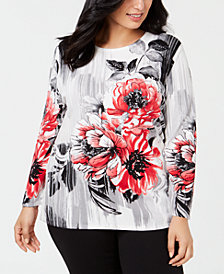 Alfred Dunner Plus Sutton Place Size Floral Print Sweater