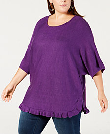 NY Collection Plus Size Ruffled Sweater