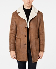 Men's Slim-Fit Brown Faux Suede Overcoat