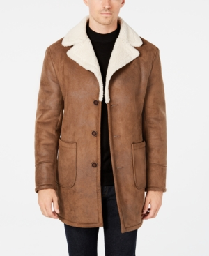 60s 70s Men's Jackets & Sweaters Tallia Mens Slim-Fit Brown Faux Suede Overcoat $196.99 AT vintagedancer.com