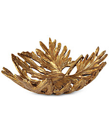 Uttermost Oak Leaf Metallic Gold Bowl