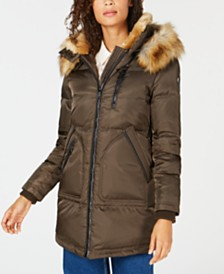 Vince Camuto Faux Fur Hooded Puffer Coat