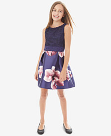BCX Big Girls Lace Floral-Print Dress